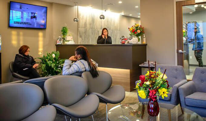 waiting area and front desk